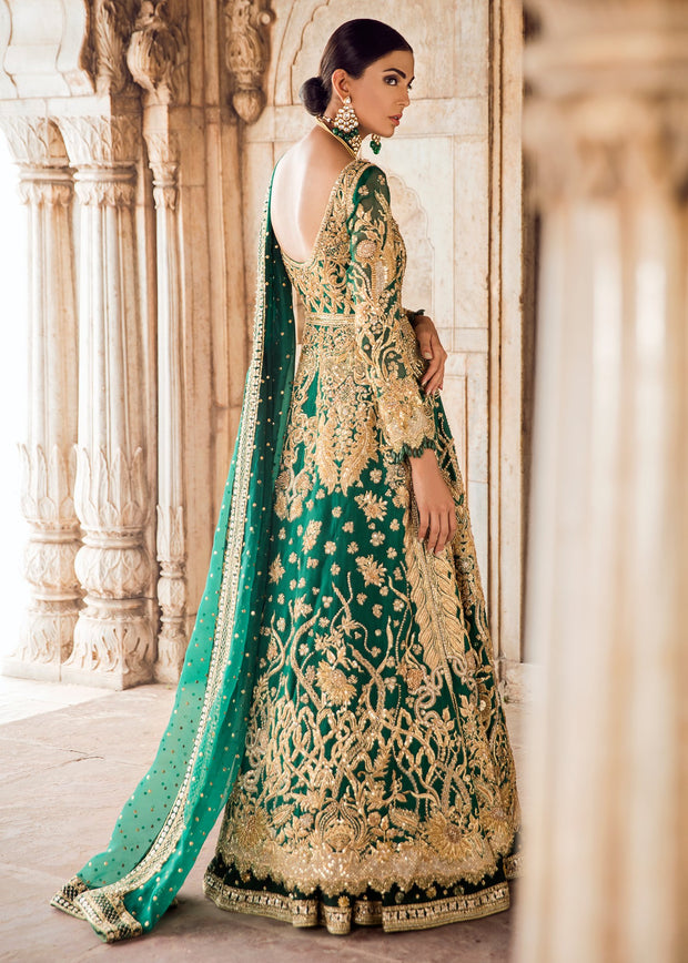 Pakistani Bridal Lehnga in Emerald Green for Wedding Backside View