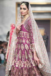 Pakistani Bridal Lehnga in Purple Color for Wedding Side Look