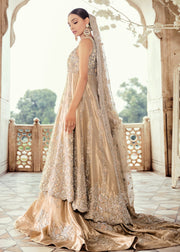 Pakistani Bridal Lehnga with Open Shirt for Wedding Side Look