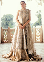 Pakistani Bridal Lehnga with Open Shirt for Wedding Front Look