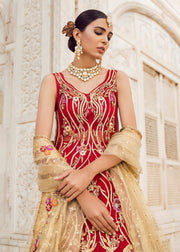 Pakistani Bridal Lehnga with Trail Shirt for Wedding Close Up