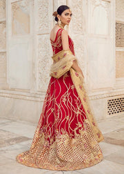 Pakistani Bridal Lehnga with Trail Shirt for Wedding Backside View