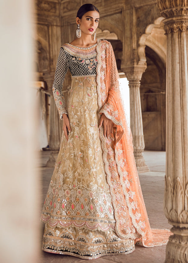 Pakistani Bridal Long Froke with Lehnga for Wedding Overall Look