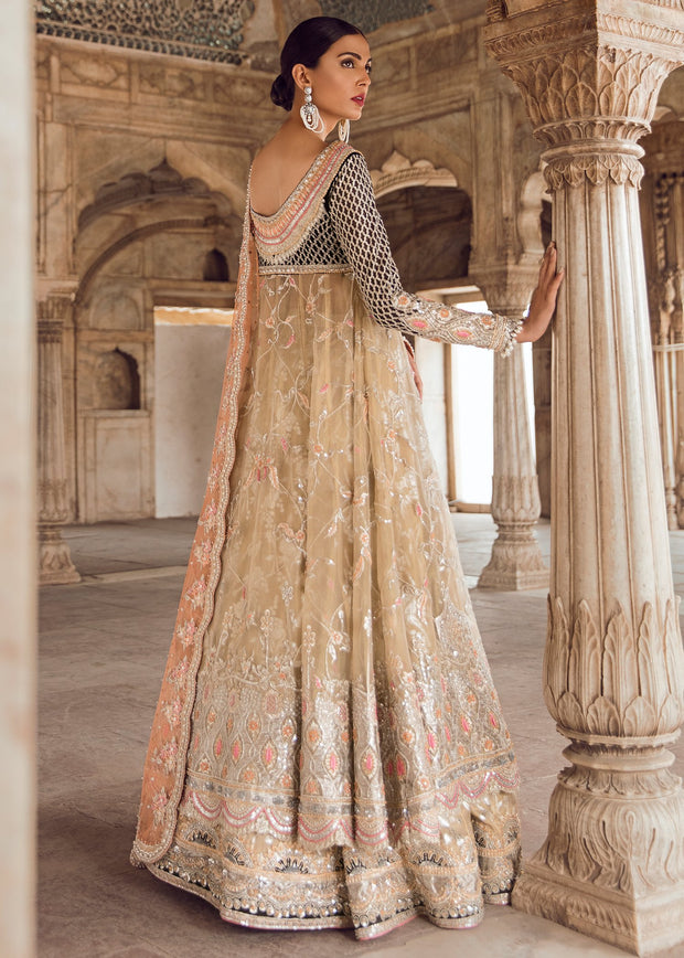 Pakistani Bridal Long Froke with Lehnga for Wedding Backside View