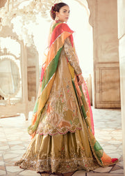 Pakistani Bridal Long Shirt Lehnga for Wedding Backside View