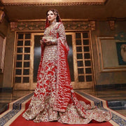 Pakistani Bridal Maxi Fresh Red Fershi Long Tail Cut 2019 # B1921