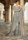 Pakistani Bridal Net Lehnga in Grey Color for Wedding