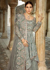 Pakistani Bridal Net Lehnga in Grey Color for Wedding Close Up