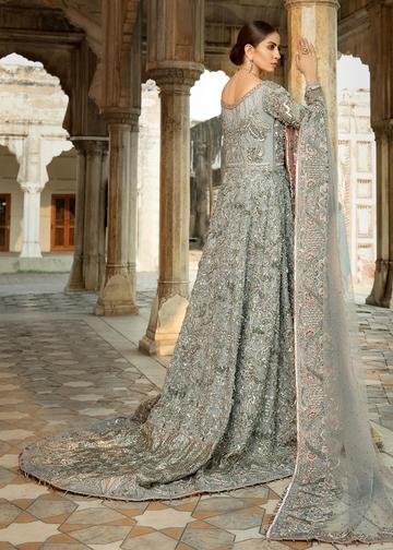 Pakistani Bridal Net Lehnga in Grey Color for Wedding Backside View