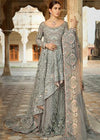 Pakistani Bridal Net Lehnga in Grey Color for Wedding Lehnga View