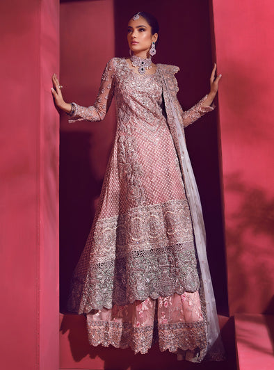 Pakistani Bridal Sharara for Wedding in Pink Color