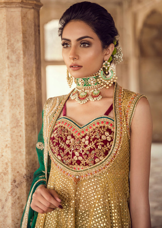 Pakistani Bridal Short Froke Dress for Wedding Close Up