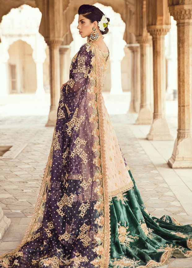 Pakistani Bridal Trail Lehnga for Wedding Backside View