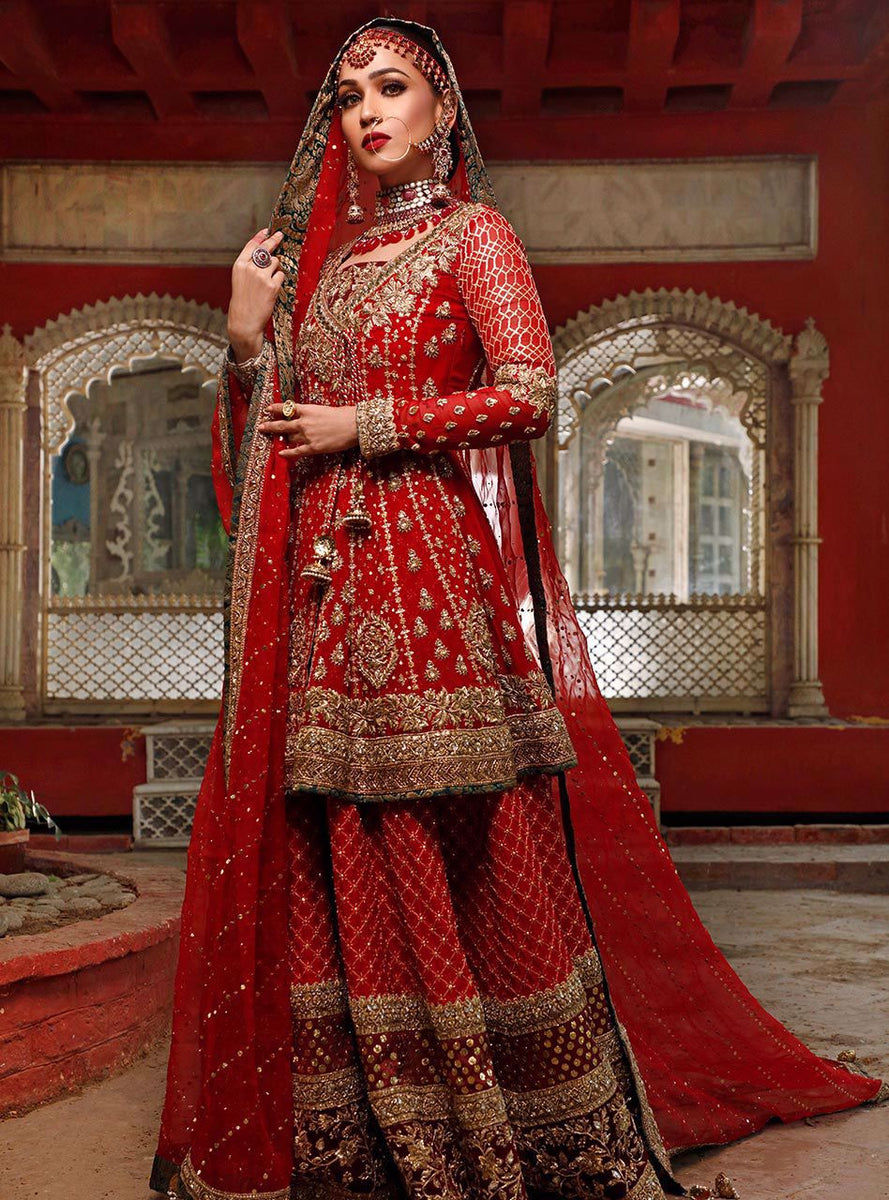 pakistani bridal wedding dress in deep red color #j5172