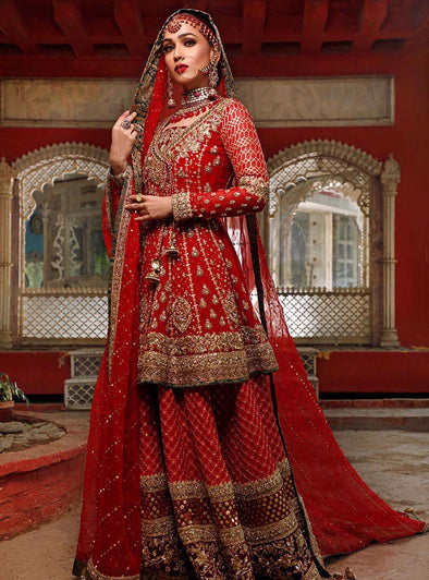 Pakistani Bridal Wedding Dress in Deep Red Color