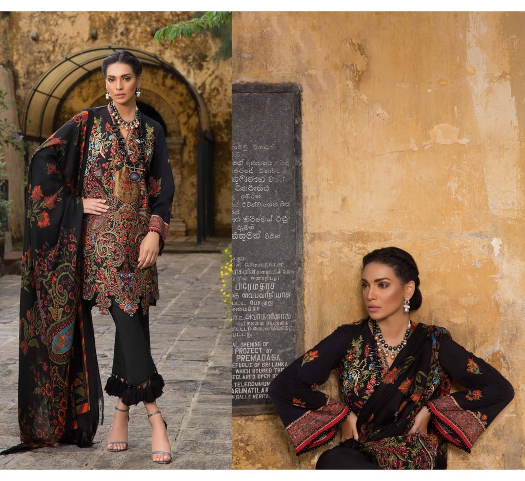 34210ed1cd Pakistani Casual Wear | Threads Embroidery Woolen Shawl – Nameera by ...