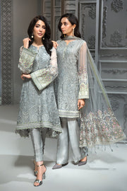 Pakistani Chiffon Party Wear in Grey Color Models