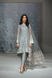 Pakistani Chiffon Party Wear in Grey Color Front Look