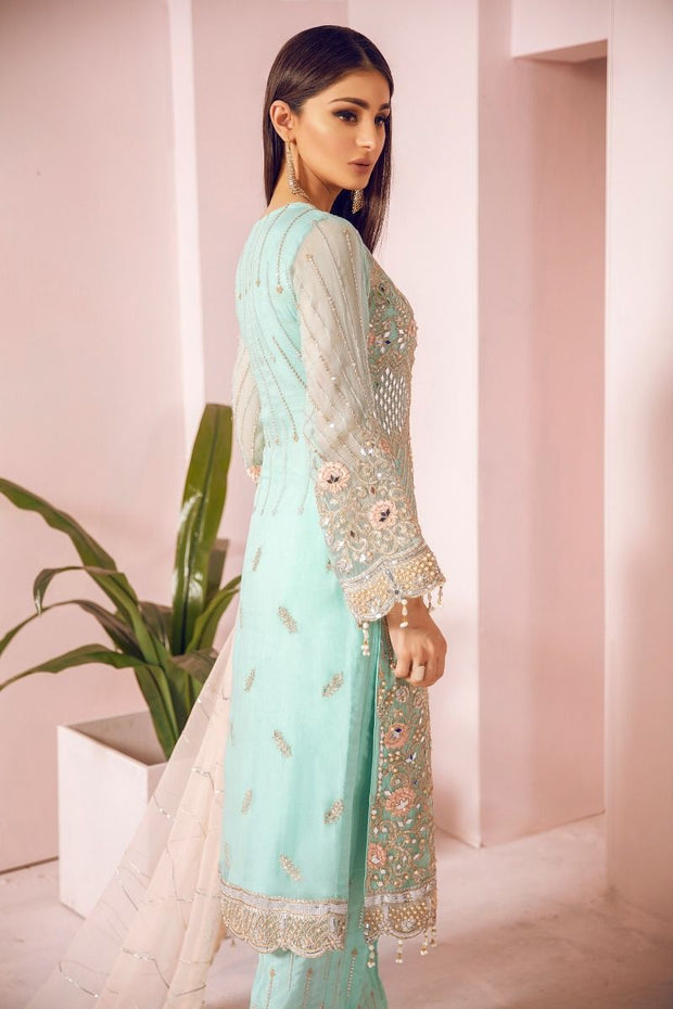 Pakistani Chiffon Party Wear in Turquoise Color Backside View
