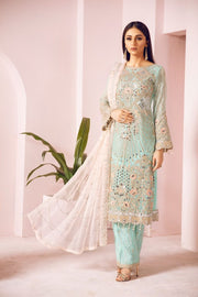 Pakistani Chiffon Party Wear in Turquoise Color Overall Look