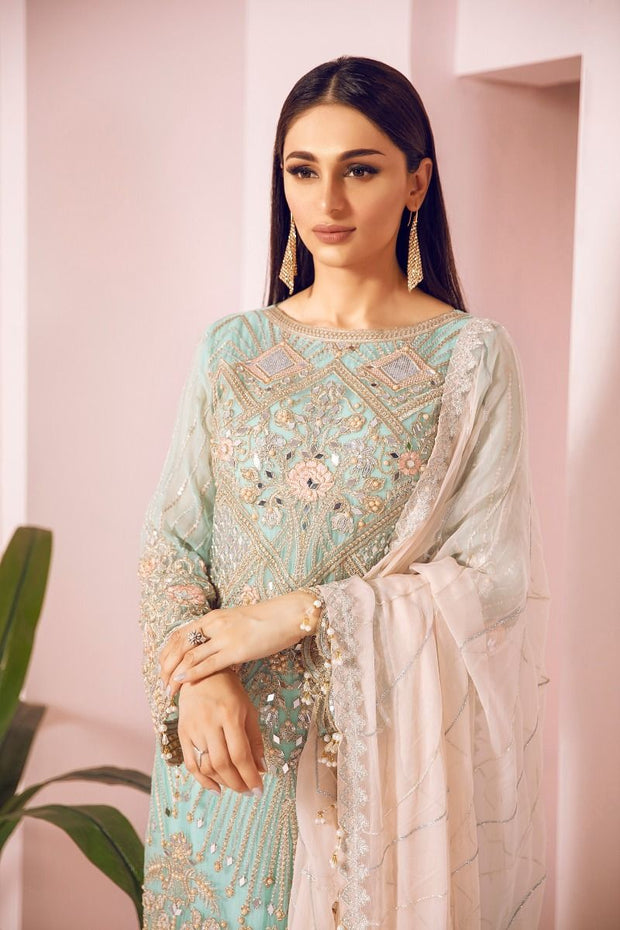 Pakistani Chiffon Party Wear in Turquoise Color Closeup View