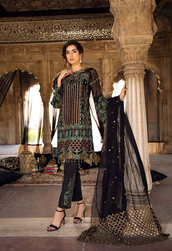 Pakistani Classic Jet Black Colour Chiffon Festive Wear 2019