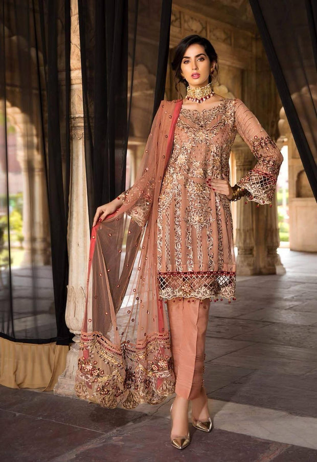 Pakistani Classic Peach Colour Chiffon Festive Wear 2019