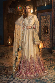 Pakistani Designer Dresses Anarkali Frock in Gold Color Overall Look