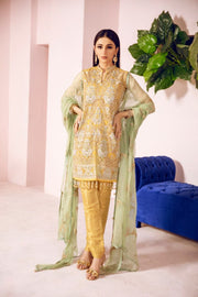 Pakistani Designer Fancy Dress in Mustard Color