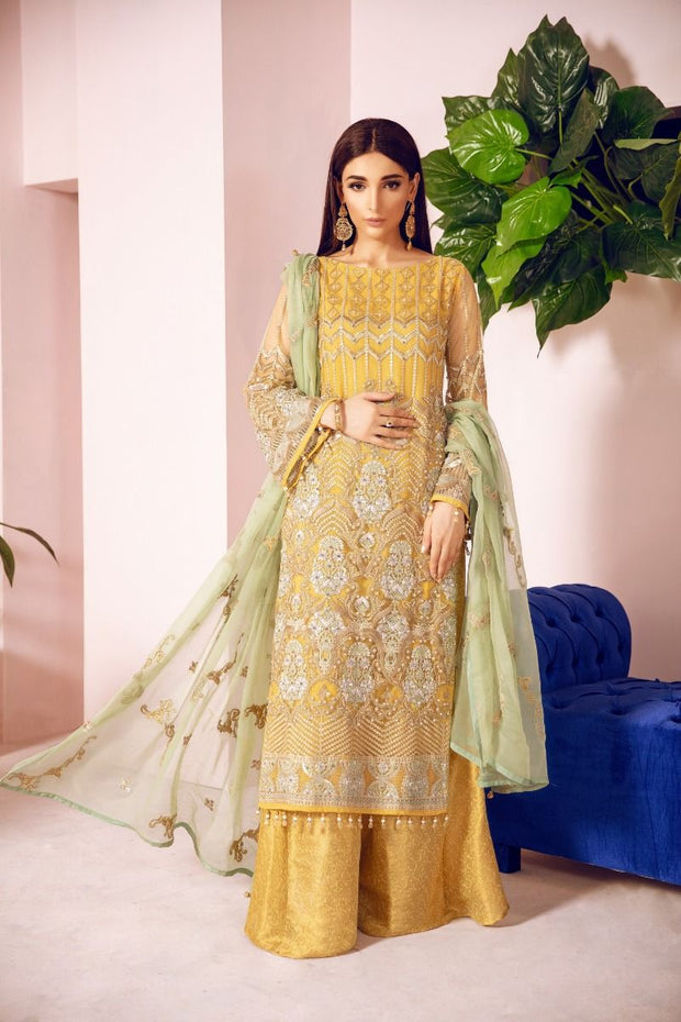 Pakistani Designer Fancy Dress in Mustard Color Front Look