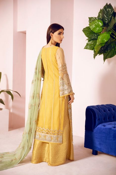 Pakistani Designer Fancy Dress in Mustard Color Backside
