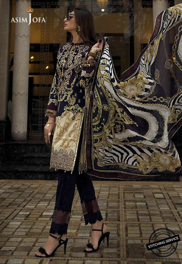 Pakistani Designer Lawn Outfit in Black Color