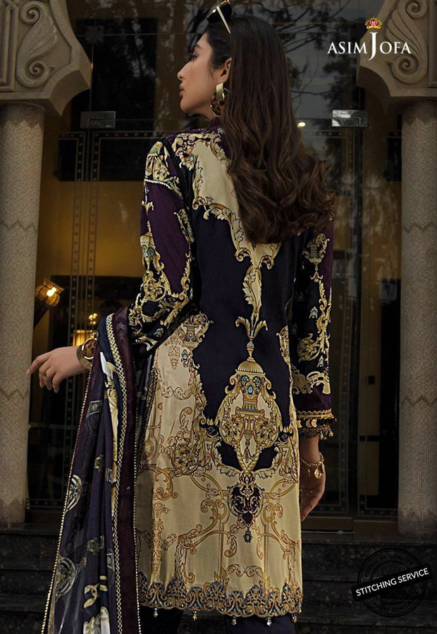 Pakistani Designer Lawn Outfit in Black Color Backside