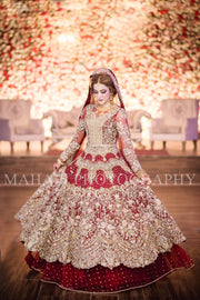 Dulhan Bridal Dress In Beutifull Maronish Red Color Model# B 1790