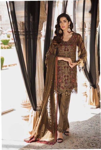 Pakistani Dull Bronze Colour Chiffon Festive Wear 2019