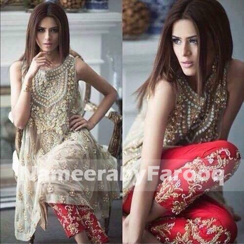 Pakistani Eid Dull Gold Dress with Net Frock and Silk Trouser
