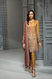 Pakistani Embroidered Party Wear in Mustard Color Front Look