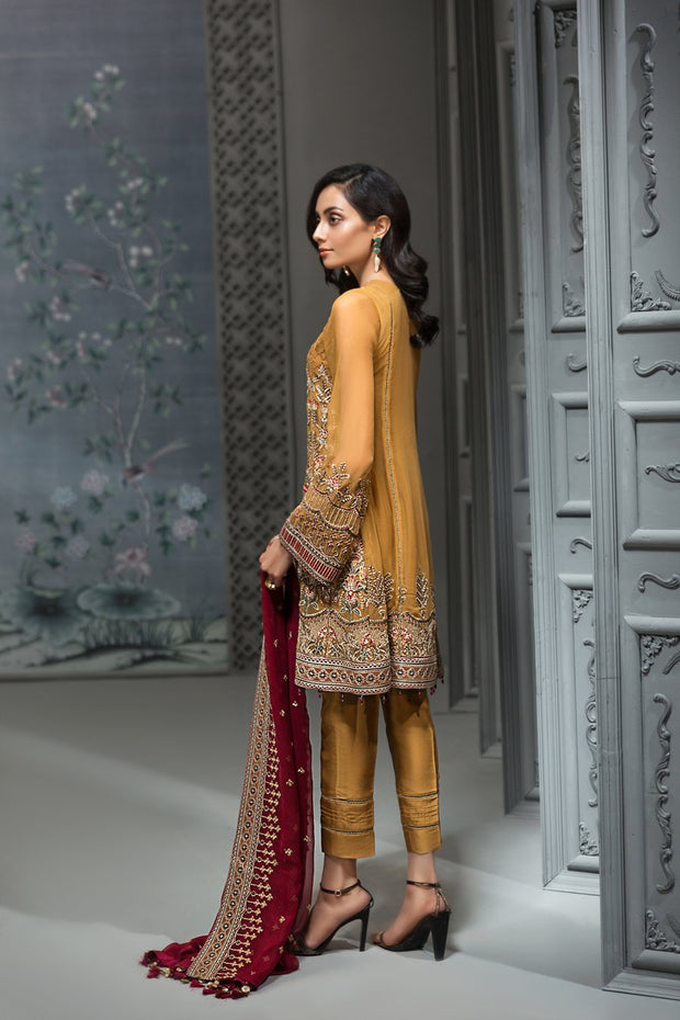 Pakistani Embroidered Party Wear in Mustard Color Backside View
