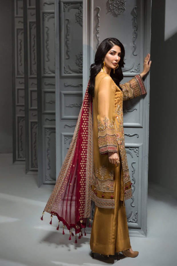Pakistani Embroidered Party Wear in Mustard Color