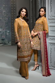 Pakistani Embroidered Party Wear in Mustard Color Models