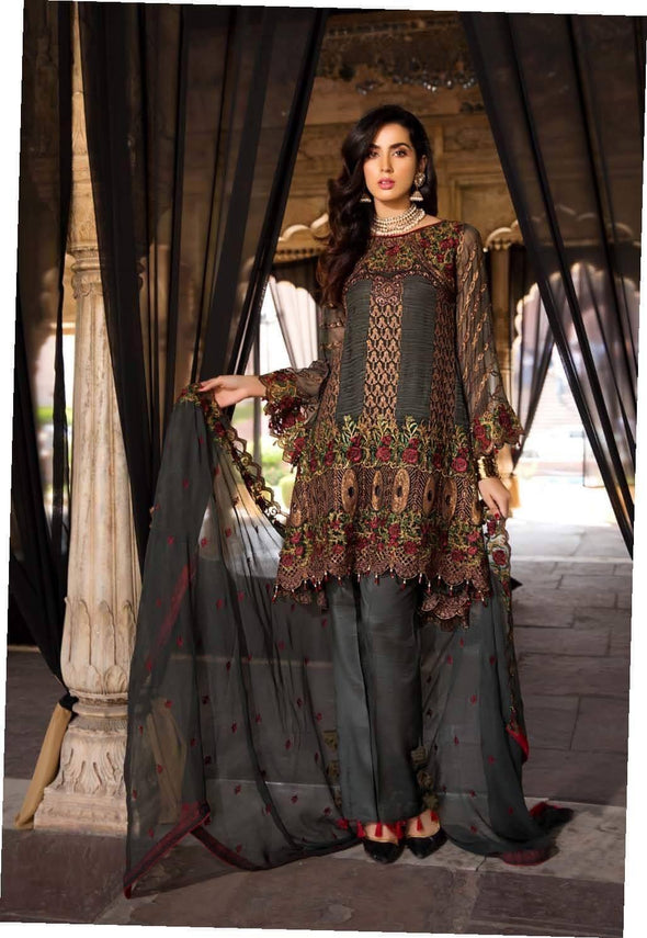 Pakistani Emerald Green Chiffon Colour Festive Wear 2019