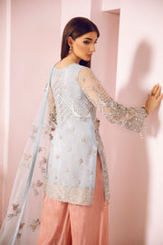 Pakistani Fancy Party Dress in Sky Blue Color Backside View