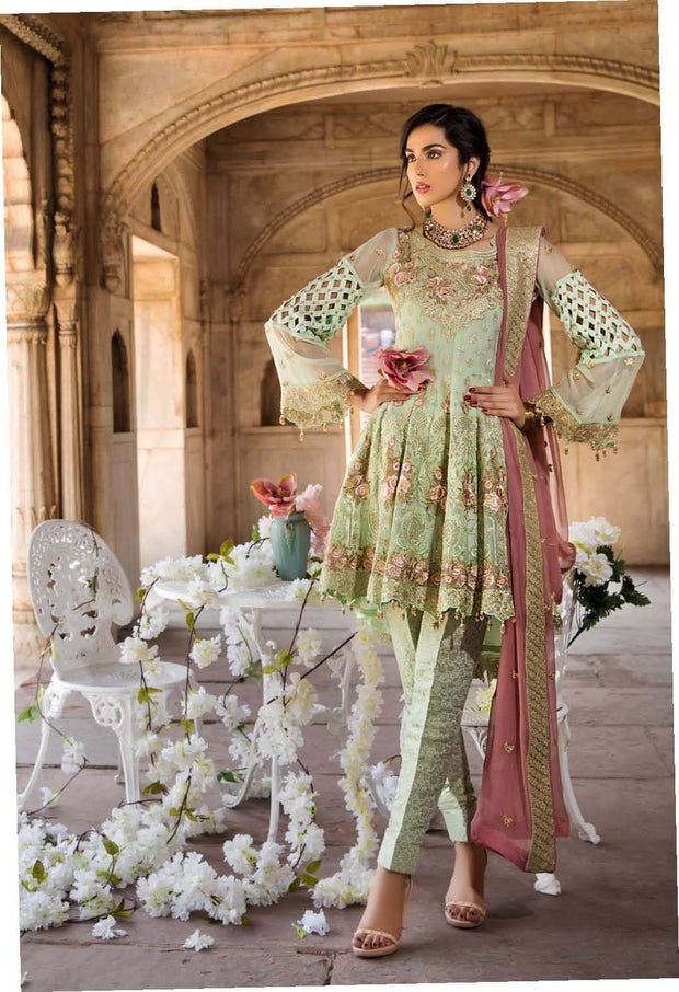 Pakistani Fresh Sea green with tea pink Chiffon Festive Wear 2019