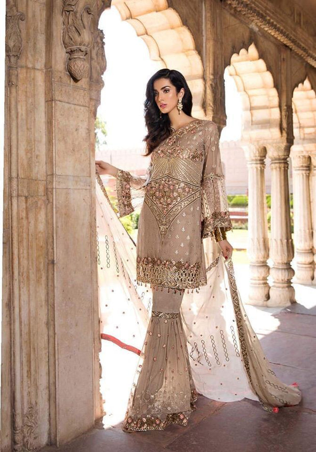 Pakistani Glamorous Chiffon Gold Skin Color Festive Wear 2019