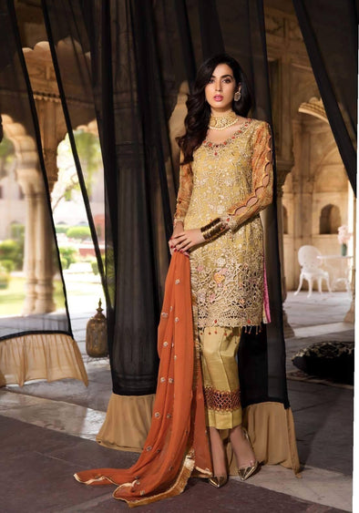 Pakistani Gold lemon with Orange Colour Chiffon Festive Wear 2019