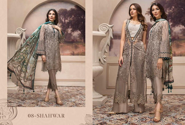 Pakistani Latest Chiffon Dress Gray Chiffon Festive Wear