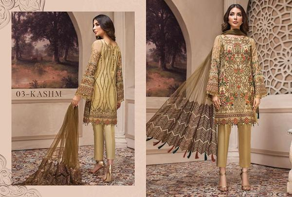 Pakistani Latest Gold Skin Color Chiffon Festive Wear 2019