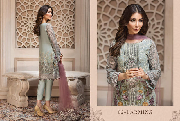 Pakistani Latest Sea-foam with Purple Chiffon Festive wear