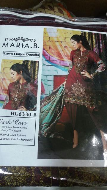 Pakistani Lawn Contrast Dupatta Festive Dress by Maria.B