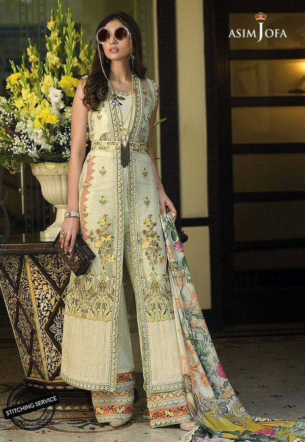 Pakistani Lawn Dress by Asim Jofa Overall Look